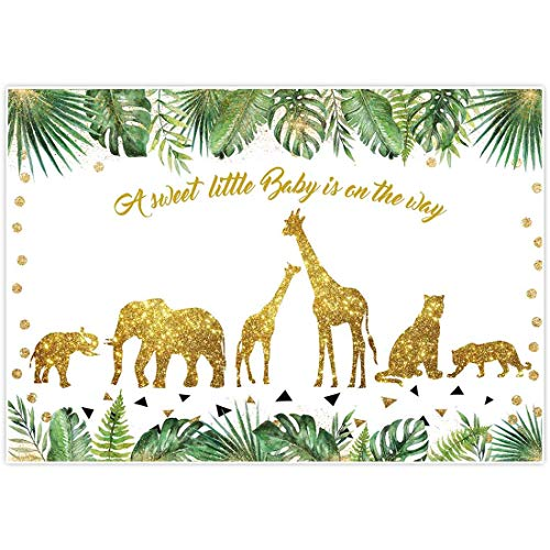 Allenjoy 7x5ft Safari Baby Shower Backdrop Tropical Palm Leaves Gold Decor Wild One for Jungle Animals Themed Children Birthday Photography Background Dessert Table Photo Studio Booth Props Banner