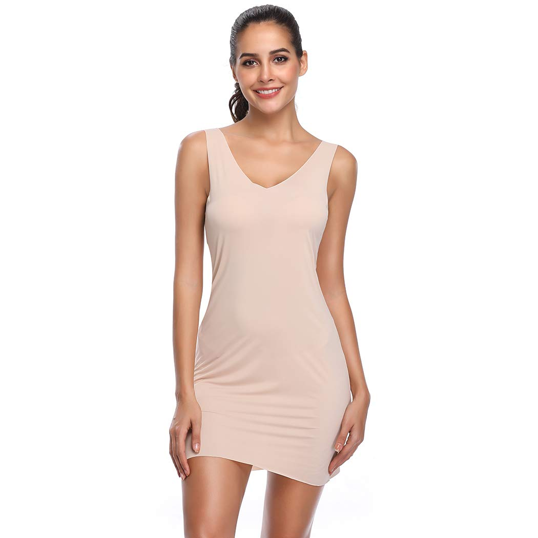 c7fae95e5450 Full Slips for Under Dresses Women Long Body Shaping Cami Slip Dress  Seamless Shapewear Slip at Amazon Women's Clothing store: