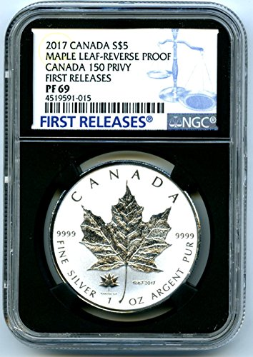 2017 CA Canada Coin Canadian Silver Maple Leaf Reverse Proof 150 150TH Privy FIRST RELEASES $5 PF69 NGC