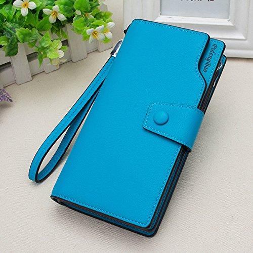 TENGGO Femmes 11 Titulaires De Carte De Crédit 6 inch Téléphone Portable PU Cuir Pochette Pochette Pochette-Rouge Bleu