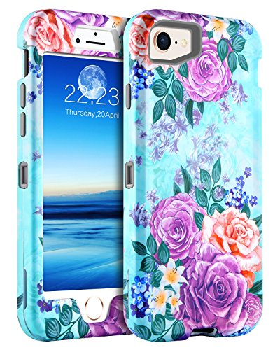 GUAGUA iPhone 7 Case iPhone 8 Case Peonies Floral Girls Women Hybrid Three Layer Hard PC Cover Soft Bumper Heavy Duty Shockproof Protective Durable Phone Case for iPhone 7/8(4.7 inch) Mint Green