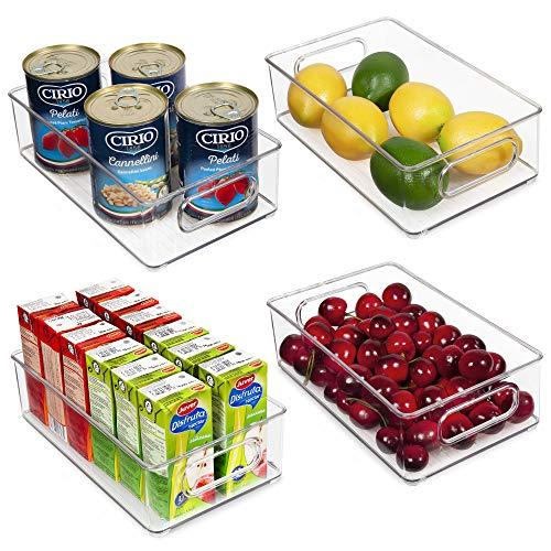 Vtopmart Stackable Clear Plastic Storage Bins, 4 Pack Food Organizer Bins with Handles for Refrigerator, Fridge, Freezer…