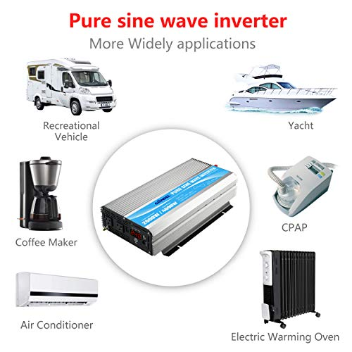 Giandel 2000W Pure Sine Wave Power Inverter DC 24V to AC120V with Dual AC Outlets with Remote Control 2.4A USB and LED Display by Giandel (Image #4)