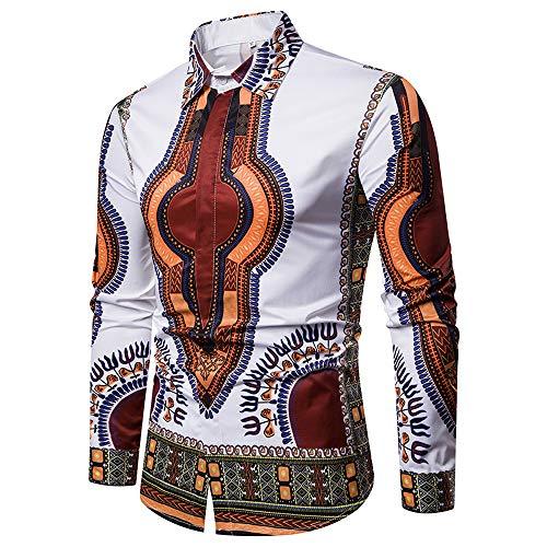 Plage Grande Taille Piebo Slim Parka Blouse Africain Blouson Lâche Manteau Fête Imprimer Hommes blanc Automne C Chemises Style Bohémien Mode Ethnique FwTaFvq