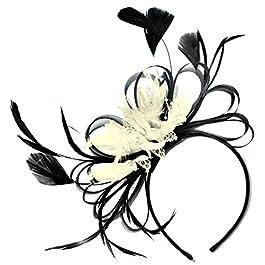Black and Cream Fascinator on Headband Wedding Royal Ascot Races Women