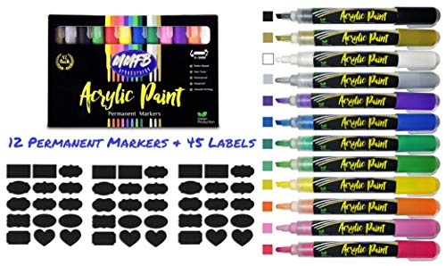 Acrylic Paint Pen Markers Reversible Tip - Writable On Most Surfaces - Rock Painting, Wood, Glass, Metal, Ceramic Works, Easter Eggs, Etc w/ BONUS Chalkboard Label Stickers, Set of 12 ()