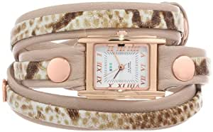 La Mer Collections Women's LMLW3001   Layered Nude and Crème Brown Snake Wrap Watch