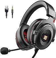EKSA Gaming Headset PS4/XBox One, Virtual 7.1 & 3,5mm Surround Sound 2 in1 Kabelgebundenes Over-Ear Gaming Kopfhörer mit...