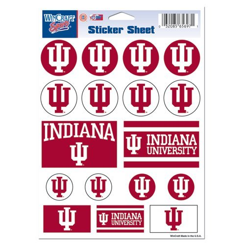 Wincraft NCAA Indiana University Vinyl Sticker Sheet, 5'' x 7''
