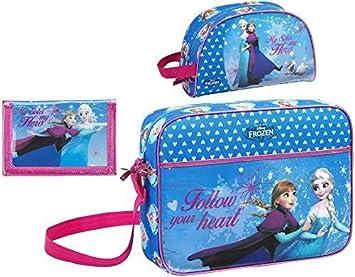 Disney Frozen - XL Bolso de Bandolera, Neceser para Cosméticos y Cartera, Azul: Amazon.es: Equipaje
