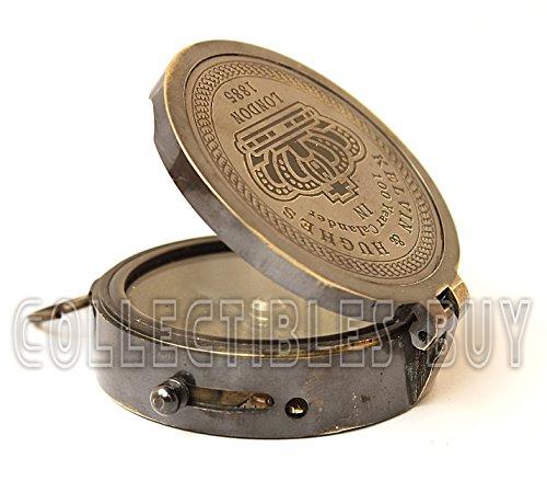 Brass compass vintage finish kelvin hughes 100 year calendar compasses lid compass