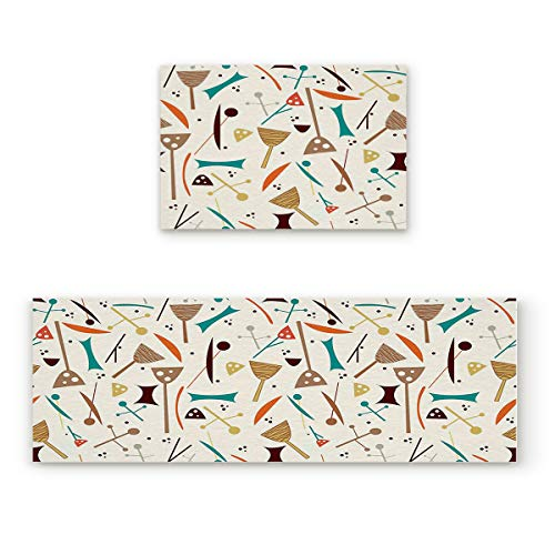 BMALL Kitchen Rug Mat Set of 2 Piece Cartoon Kitchen Series Inside Outside Entrance Rugs Runner Rug Home Decor 23.6x35.4in+23.6x70.9in