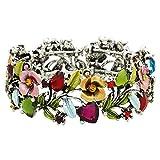 Falari Vintage Flower Bracelet Bangle Crystal Beads Hand-Painted BG401-ASMT