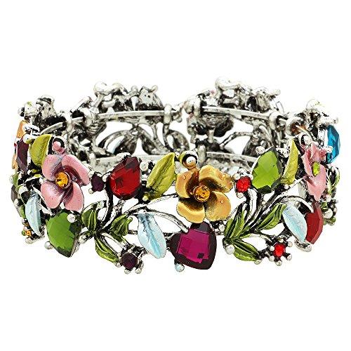 (Falari Vintage Flower Bracelet Bangle Crystal Beads Hand-Painted BG401-ASMT)
