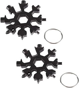 Black Christmas Gift for Men Gigilli 18 In 1 Snowflake Multitool Wrench Stainless Steel Snowflake Bottle Opener Flat Phillips Screwdriver Kit