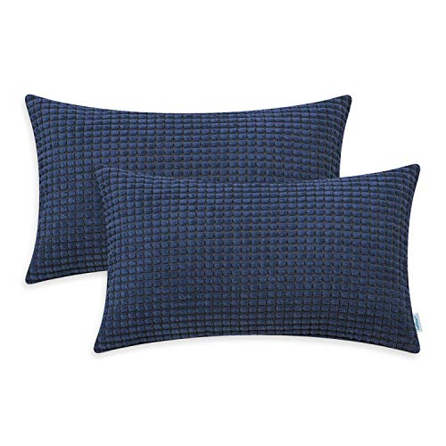 CaliTime Pack of 2 Comfy Bolster Pillow Covers Cases for Couch Sofa Bed Decoration Comfortable Supersoft Corduroy Corn Striped Both Sides 12 X 20 Inches Navy Blue