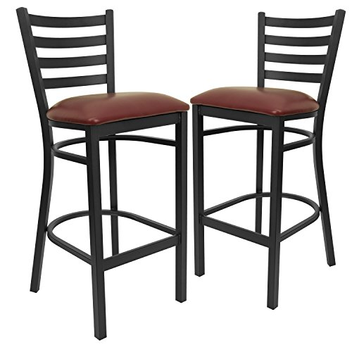 Flash Furniture 2 Pk. HERCULES Series Black Ladder Back Metal Restaurant Barstool - Burgundy Vinyl Seat
