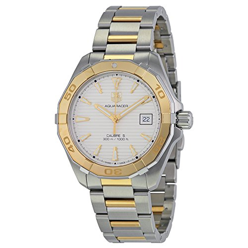 Tag Heuer Aquaracer Automatic White Dial Steel and 18kt Yellow Gold Mens Watch WAY2151.BD0912 18kt Yellow Gold Mens Watch