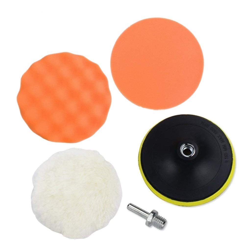 LUOIUI Polishing Buffer Pads,4 inch Polishing Buffing Kits with M10 Drill Adapter and Foam Compounding Sponge Buffer Pads and Soft Wool Bonnet Pads Set of 5 Pcs Buffing Pads for Car Sanding (4 inch)