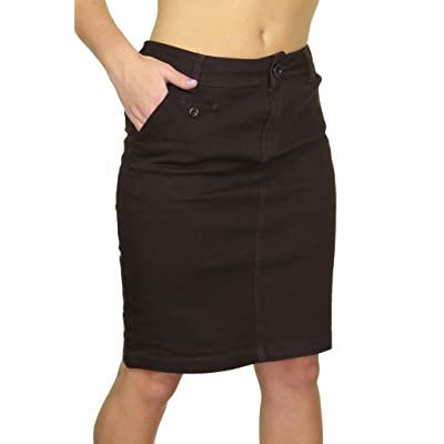 4e9bdc967053f (2466-1) Stretch Heavy Cotton Above Knee Jeans Skirt Dark Brown