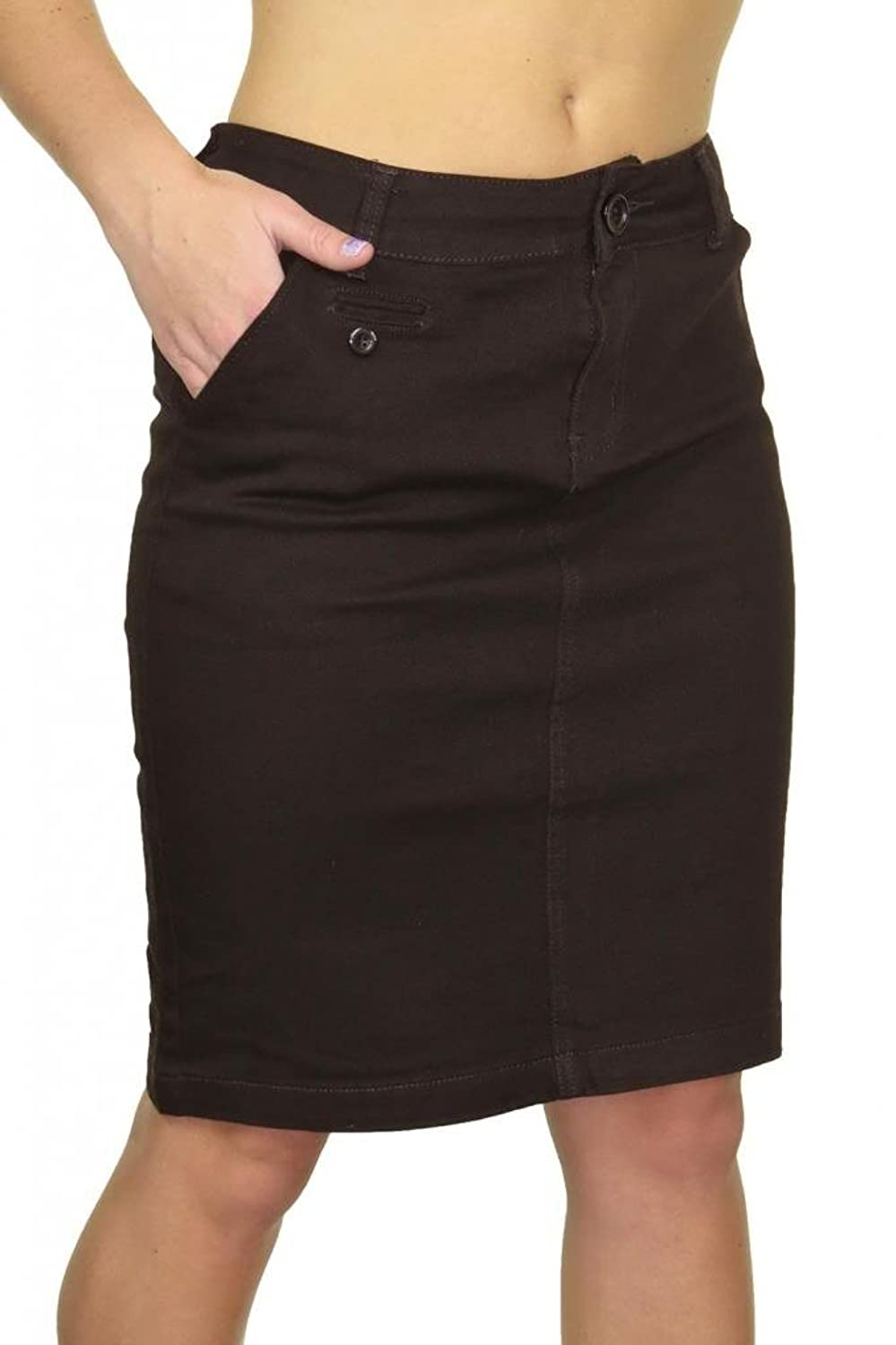 (2466-1) Stretch Heavy Cotton Above Knee Jeans Skirt Dark Brown