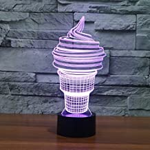 3D Ice Cream Night Light Lamp 7 Color Change LED Touch USB Table Gift Kids Toys Decor Decorations Christmas Valentines Giftbirthday gift