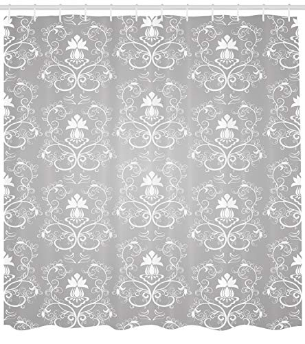 Ambesonne Damask Shower Curtain, Damask Style Antique Floral Motifs Pattern Royal Victorian Design Vintage Leaves, Fabric Bathroom Decor Set with Hooks, 84 inches Extra Long, Gray and White -