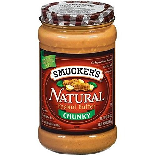 Smucker's Natural Chunky Peanut Butter, 26-ounce Glass Jars ()