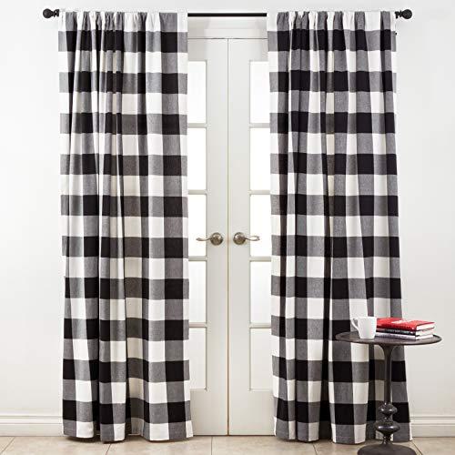 SARO LIFESTYLE Birmingham Collection Buffalo Plaid Cotton Curtains, 54