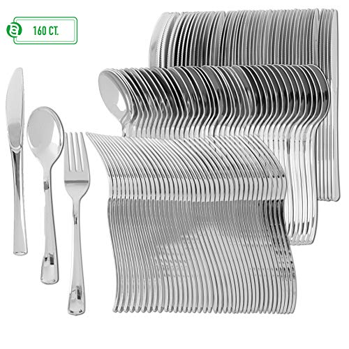 (Disposable Plastic Utensils | Heavy Duty Silverware & Solid Cutlery Set | Perfect for Weddings, Buffets, Luncheon & More | 80 Forks, 40 Spoons & 40 Knives Combo Pack | 160 Count)