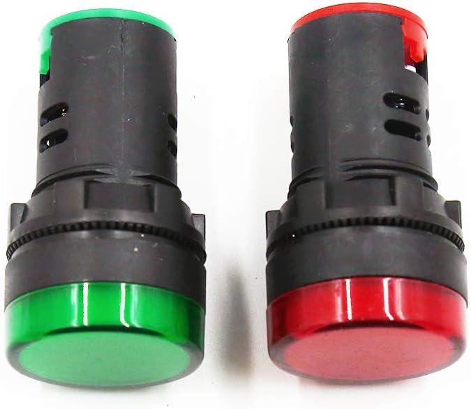 "HONJIE AC/DC 110V LED Indicator Lights Flush Panel Mount Red&Green LED 7/8"" 22mm-2Pcs"