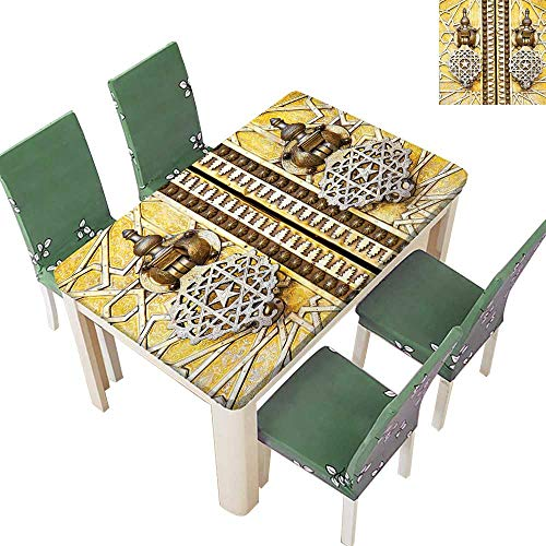 Printsonne Polyesters Tablecloth Authentic Heraldic Royal Gold Retro Door of Aged Moroccan African Architecture Picture YEL Wedding Birthday Party 50 x 72 Inch (Elastic Edge)