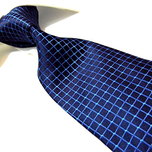 Hagora Men's Elegant Navy Electric Blue Grid Jacquard Microfiber Long (Electric Blue Long Tie)