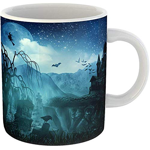 Coffee Tea Mug Gift 11 Oz Funny Ceramic Green Spooky Abstract Halloween Forest Scene Gifts For Family Friends Coworkers Boss -