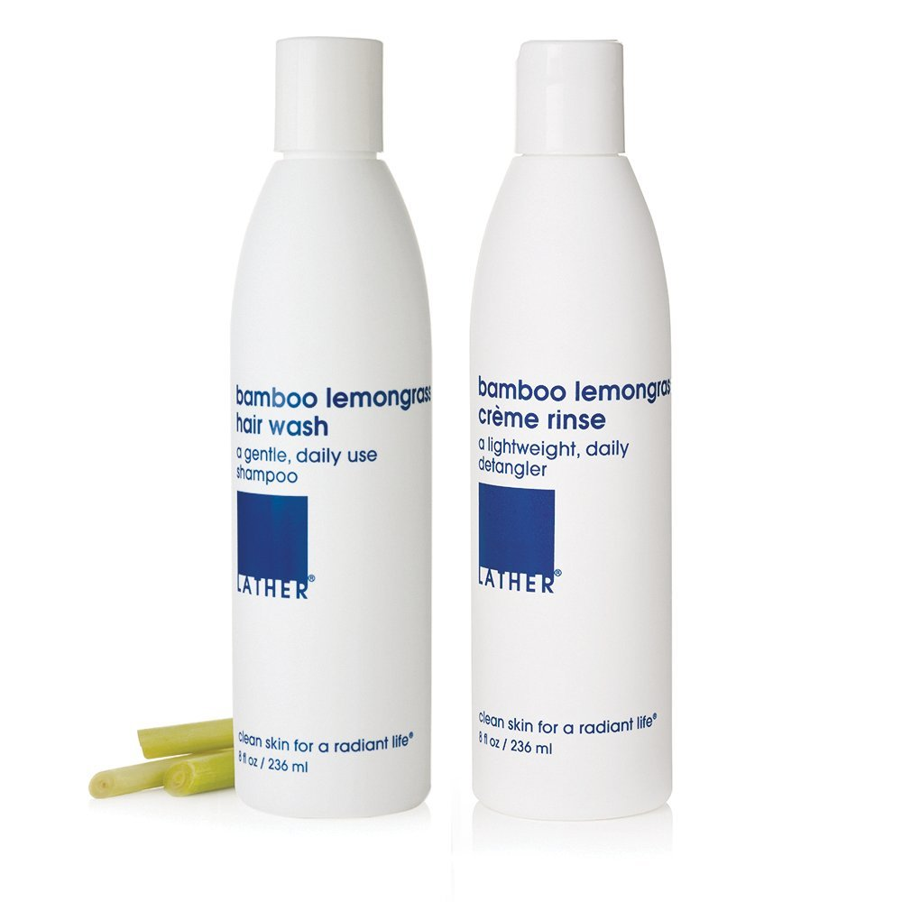 36c2f28cadeb LATHER Bamboo Lemongrass Hair Wash and Crème Rinse Duo, 8 Oz Bottles -  Gentle, Daily Moisturizing...