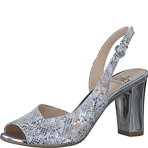 Caprice - Sandalias de vestir de Piel para mujer plata