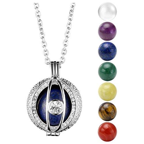 Jovivi Silver Plated Evil Eye Locket Pendant with Natural 7 Chakras 16mm Ball Stones Reiki Healing Energy Beads 26