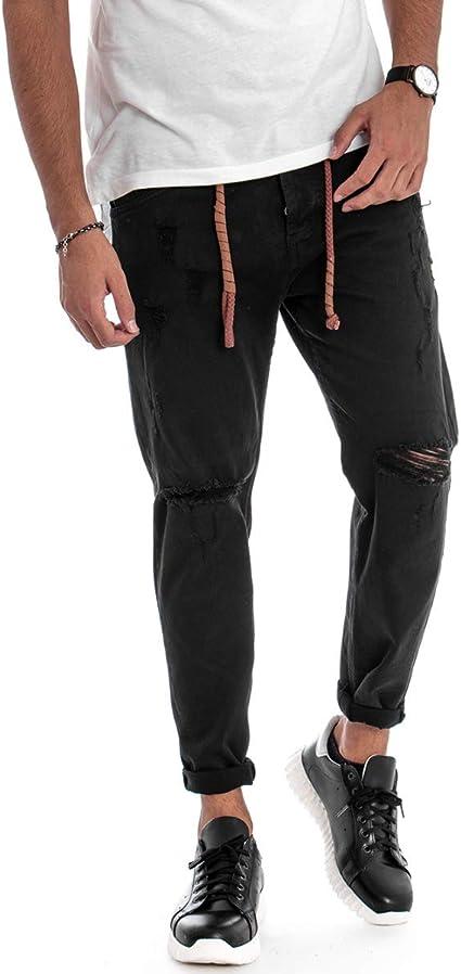 Giosal pantalón para Hombre Ancho Corte Rodillas roturas cinturón ...