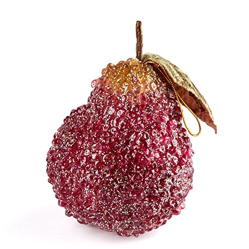 - Factory Direct Craft Beaded Burgundy Pear Ornaments with Leaf Accent 6 Iced Ornaments