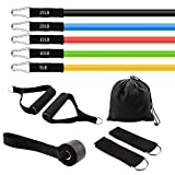 Cheap Resistance Band Set, HANGRUI 11 pcs Fitness Bands, Multifunctional Exercise Trainer Rally Set with 5 Resistance Bands, Door Anchor, Foam Handles, Ankle Straps and Waterproof Carrying Case, For Resista