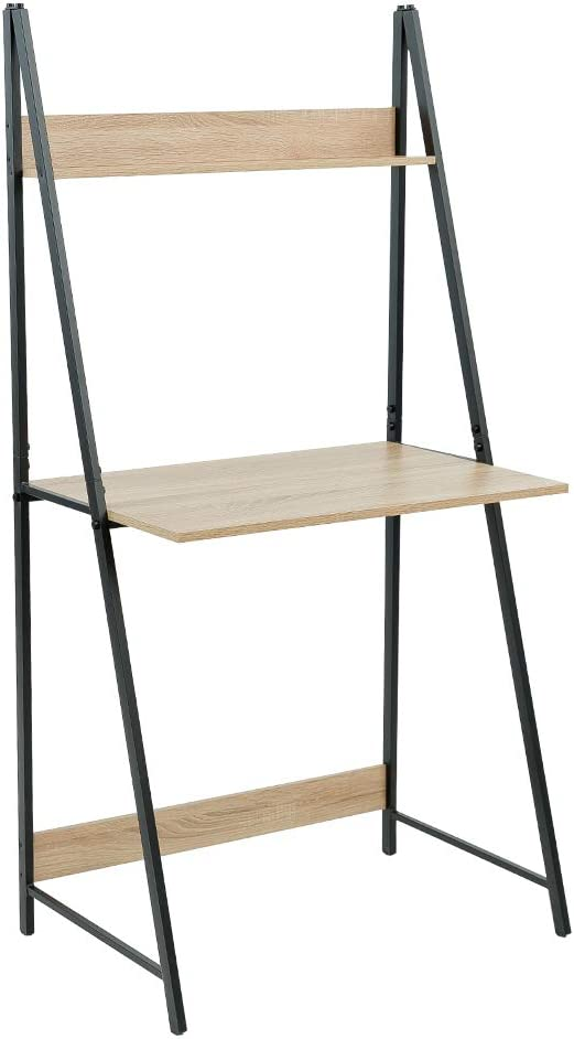 C-Hopetree Escalera Escritorio Estudiante Ordenador Portátil Escritorio Mesa de Oficina de Aspecto Industrial Madera Marco de Metal Negro Rústico Ladder Desk multicolor: Amazon.es: Hogar