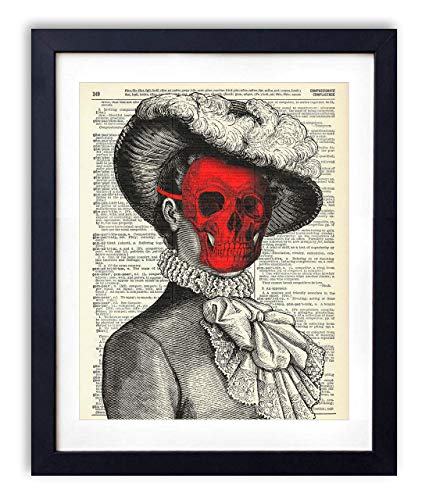 Victorian Woman With Red Skull Mask Upcycled Vintage Dictionary Art Print 8x10 ()