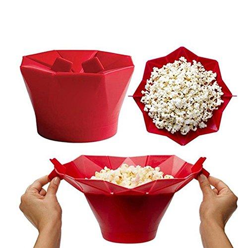 LetGoShop Microwave Popcorn Popper Silicone Popcorn Maker Collapsible Bowl BPA Free (Red)