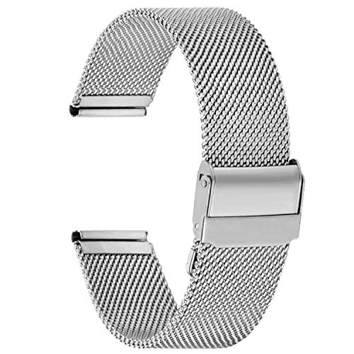 Fullmosa Watch Band Stainless Steel Watch Band Replacement Strap for 18mm Silver + Silver Hardware (18mm Mesh Watch Band)