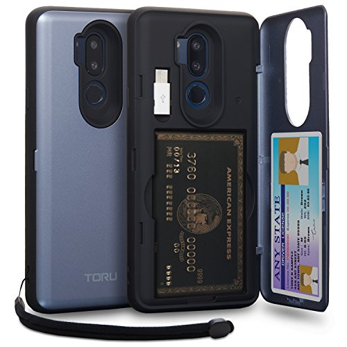 TORU CX PRO LG G7 Wallet Case Blue with Hidden ID Slot Credit Card Holder Hard Cover, Strap, Mirror & USB Adapter for LG G7 / LG G7 ThinQ - Orchid Gray