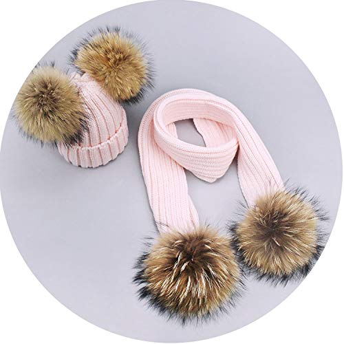 2 Pieces Set Winter Hat Scarf for Girls Boys Raccoon Fur Pom Pom Knitted Hats,Pink,Adult