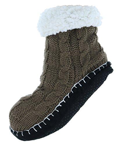 Antonio Women's Plush Classic Cable Knit Slipper Socks (Fits Shoe Size 8-11, Taupe) by Antonio