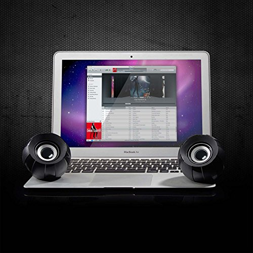 KCOOL Computer Speakers, USB 2.0 Multimedia PC Desktop Speakers with Stereo Sound for Laptops and PC or TV, 3.5mm Black by KCOOL (Image #4)