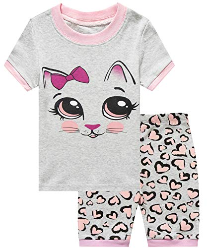 Girls Short Pajamas Cat Sleepwear 100% Cotton Summer Toddler Pjs Clothes Shirts 10T by Little Cat