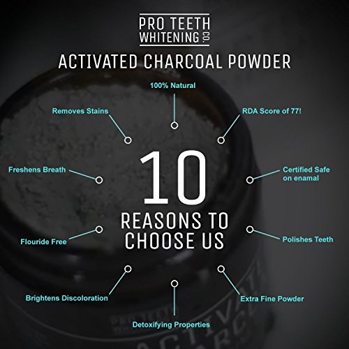 Activated Charcoal Natural Teeth Whitening Powder by Pro Teeth Whitening Co Grey Charcoal (non abrasive and proven safe for enamel) From Coconut Shells | Manufactured in England by Pro Teeth Whitening Co (Image #3)